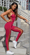Brazilian Fitness Jumpsuit - NZ Straps Bra Red Velvet