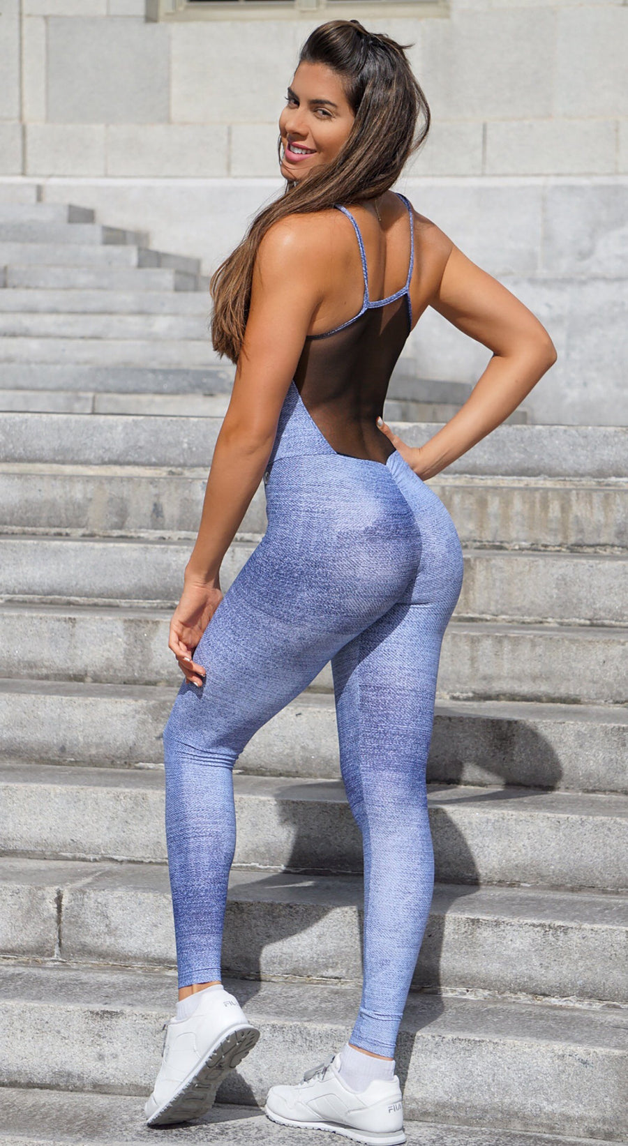 Brazilian Workout Jumpsuit - Fake Jeans Print One Piece