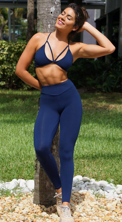 Brazilian Workout Legging -  High Waist Scrunch Booty Lift! Navy