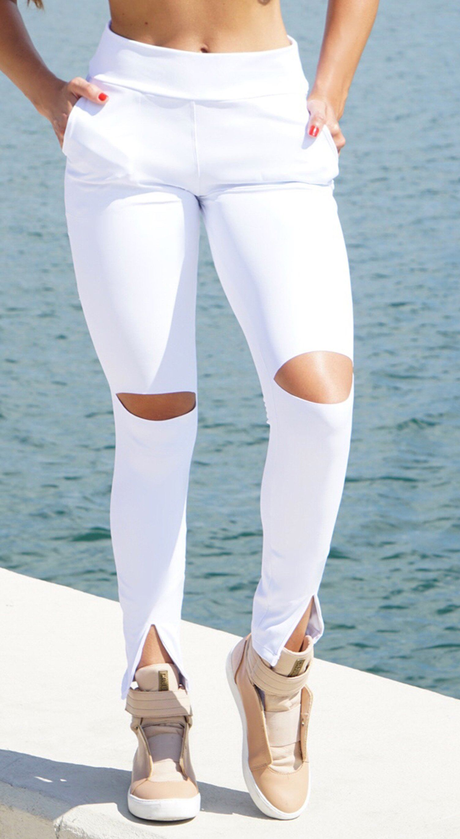 Brazilian Workout Legging - Stylish With Side Pockets White