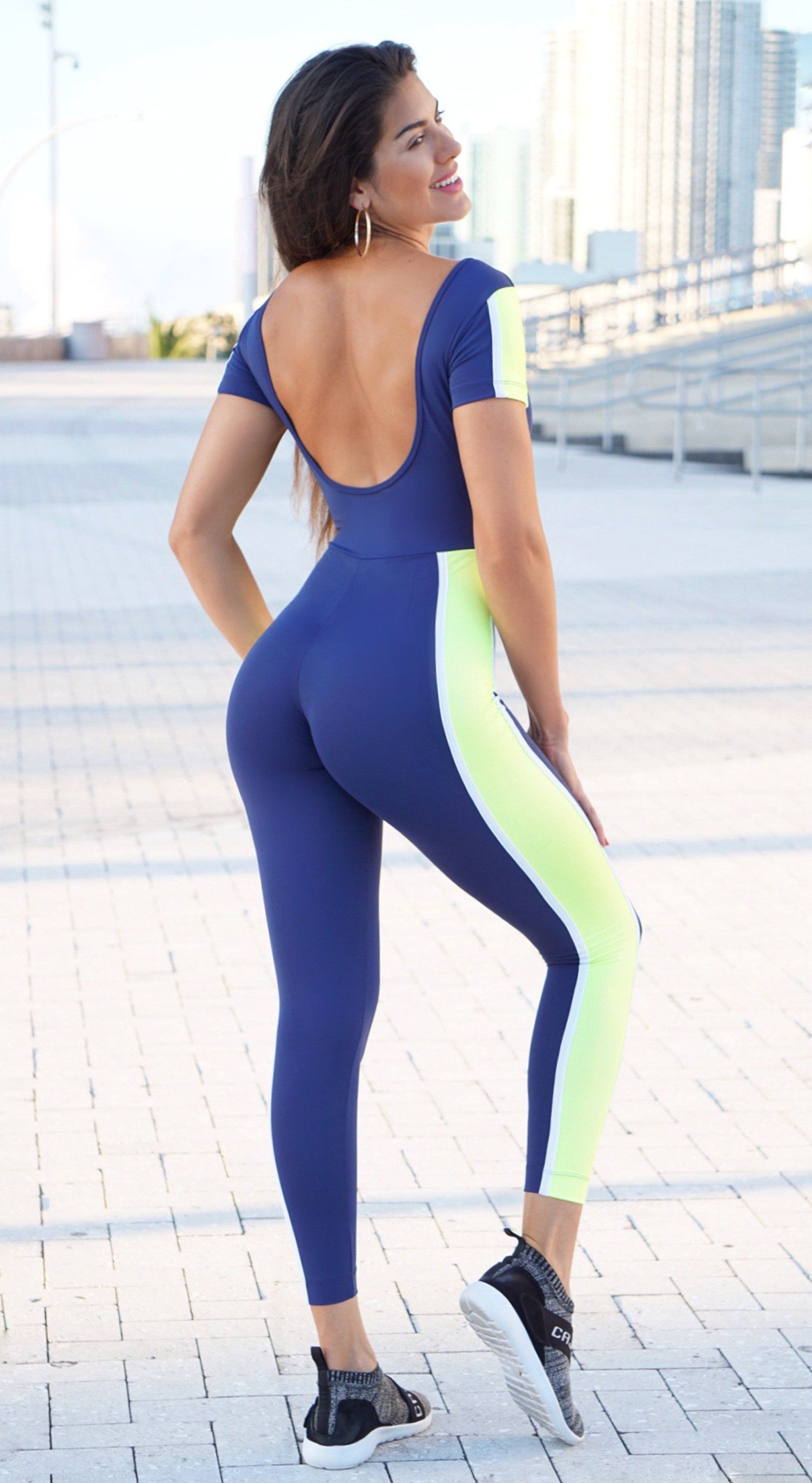 Brazilian Workout Jumpsuit - Silk Navy & Neon Yellow