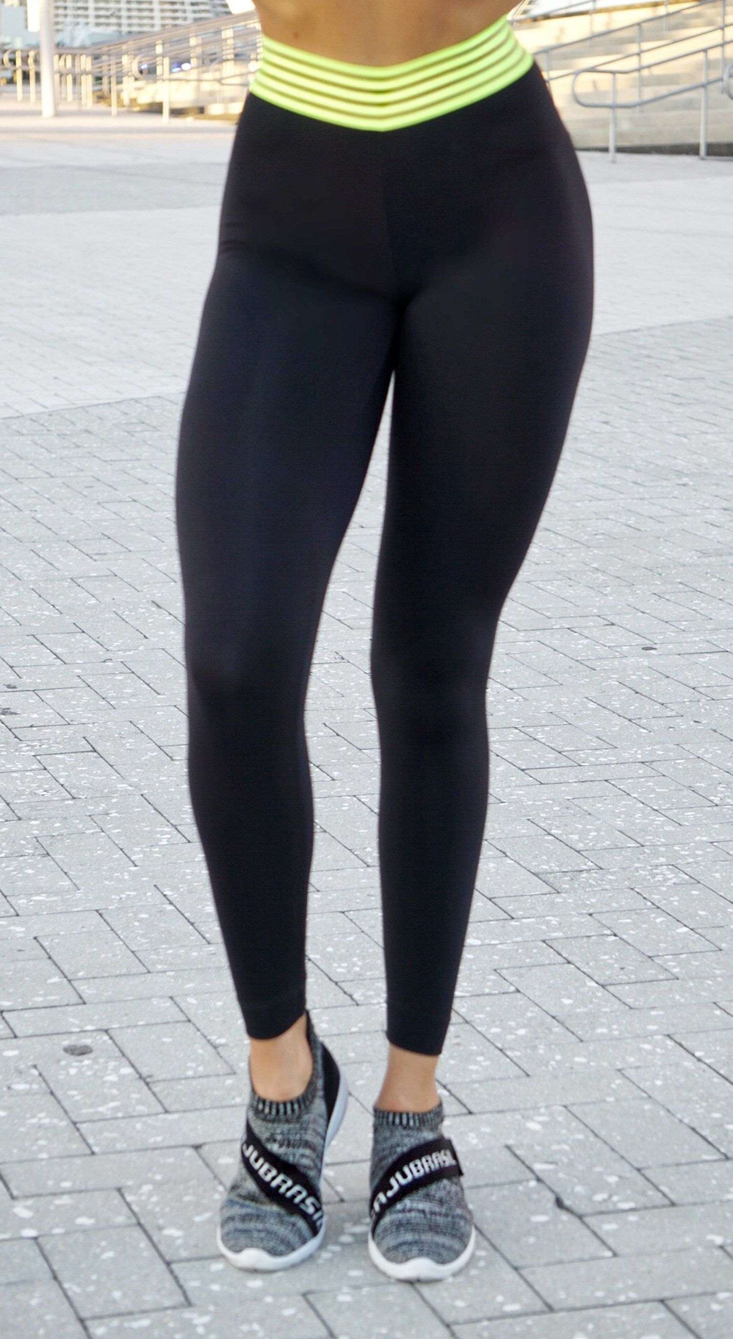 Brazilian Workout Leggings - Fusion Black & Neon Yellow