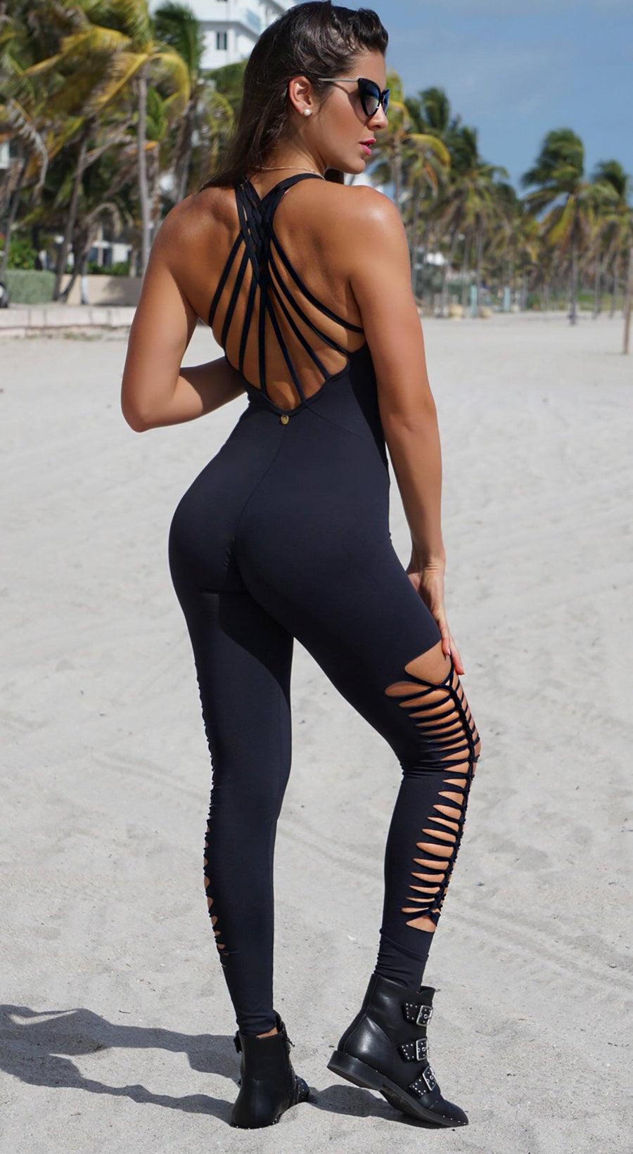 Brazilian Workout Jumpsuit - Braided  One piece Black