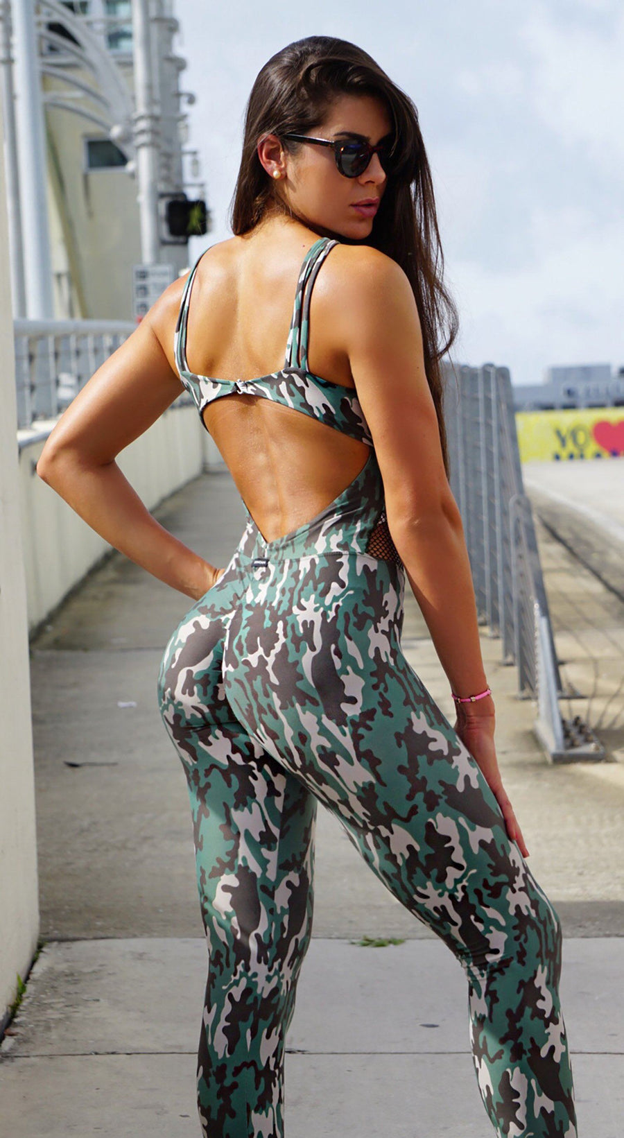 Brazilian Workout Jumpsuit  -  Scrunch Booty Army Green