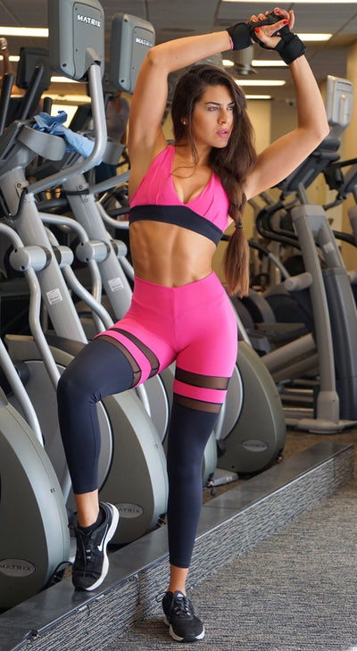 Brazilian Workout Legging - Scrunch Booty Socks Leggings Magenta & Black
