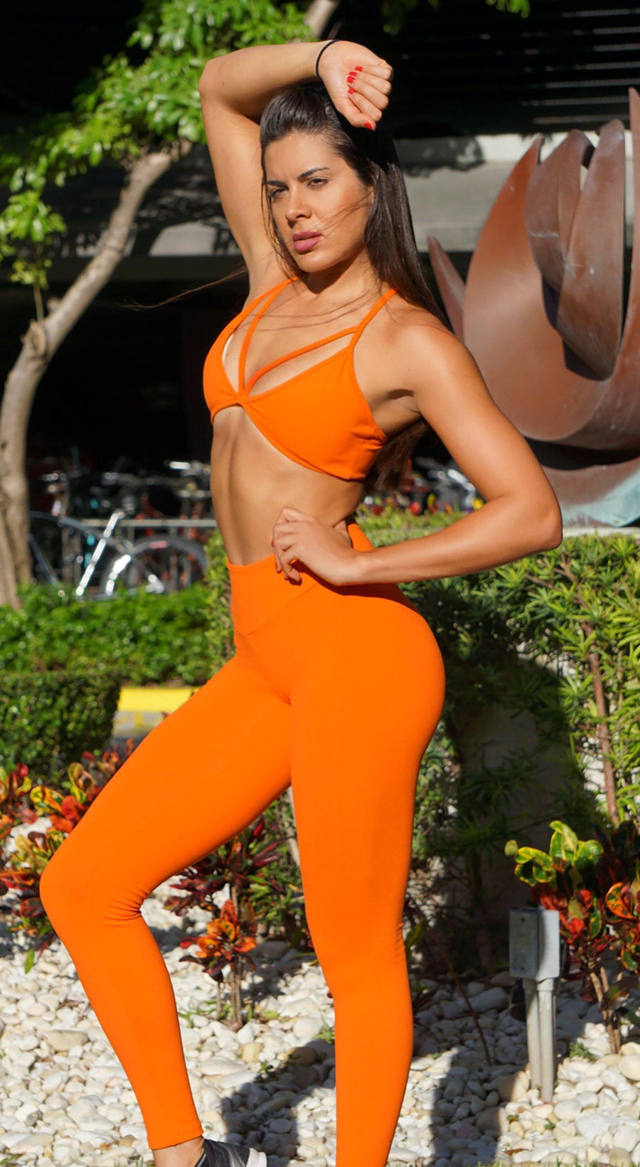 Brazilian Workout Legging -  High Waist Scrunch Booty Lift! Orange