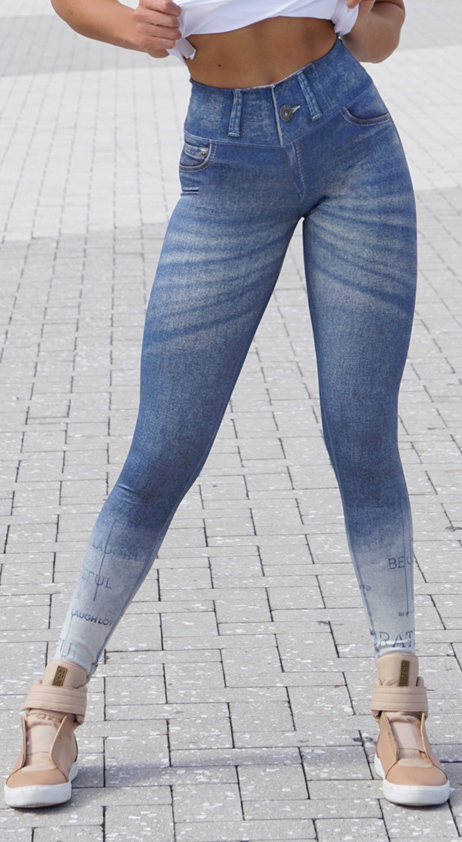 Brazilian Fake Jeans Legging - Sublime Reversible Grateful Print