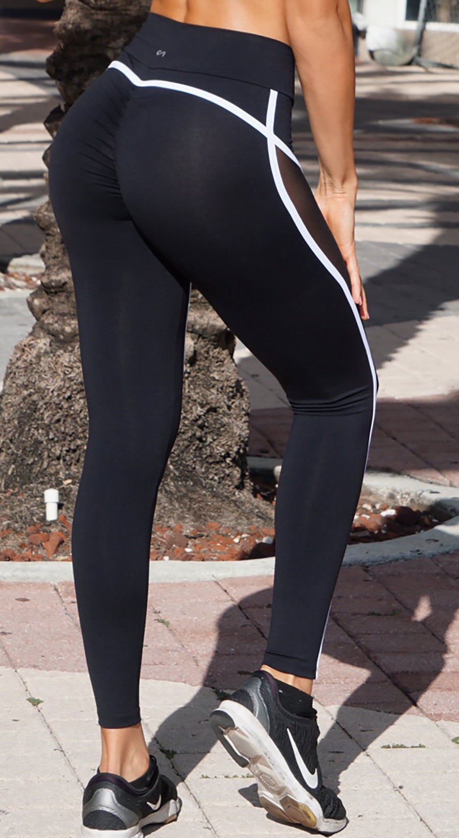 Brazilian Workout Legging - Scrunch Booty Move Mesh Black