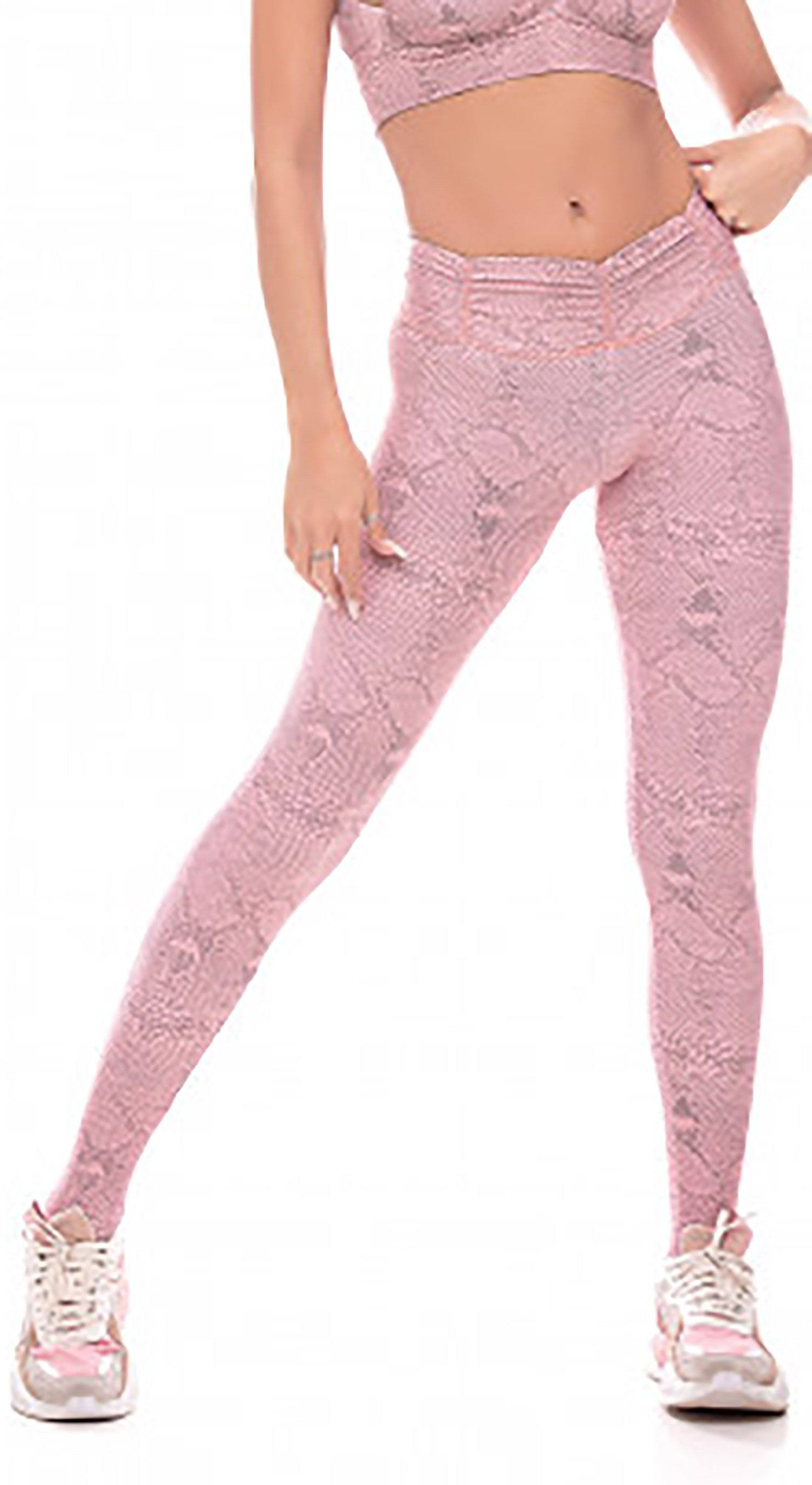 Brazilian Workout Legging - Snake Rose Print
