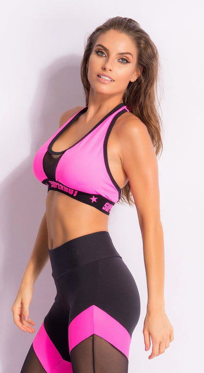 Brazilian Workout Sports Bra - Pink Knockout Bra