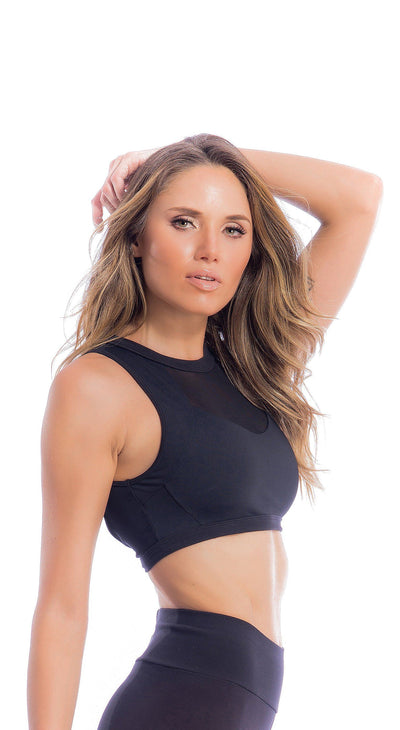 Brazilian Workout Sports Bra - Top Fit Diva Black