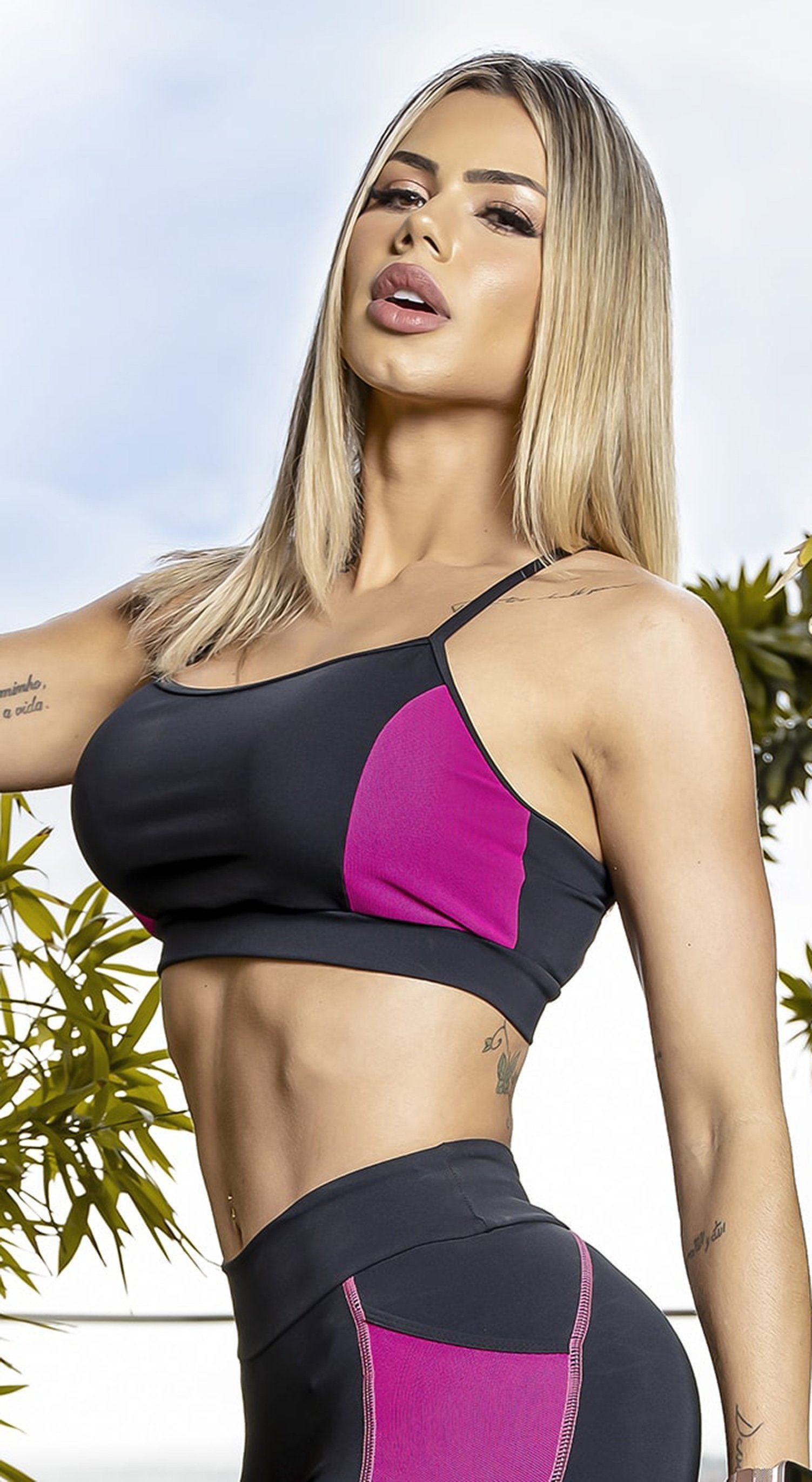 Brazilian Sports Bra - Top Emma Black & Pink