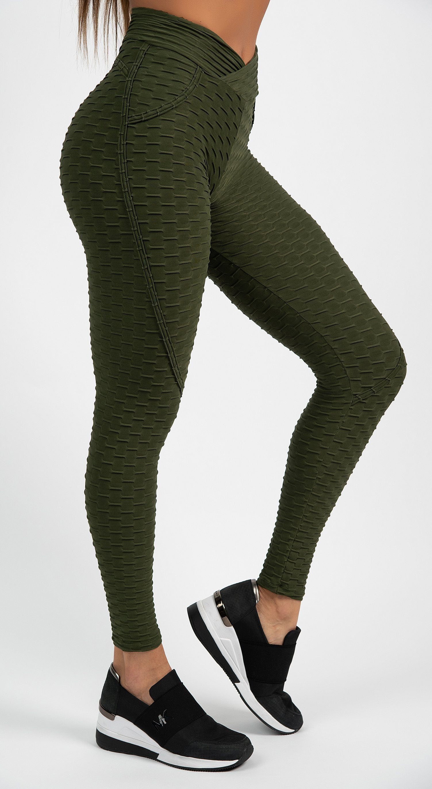 Anti Cellulite Textured Heart Booty Effect Olive Green