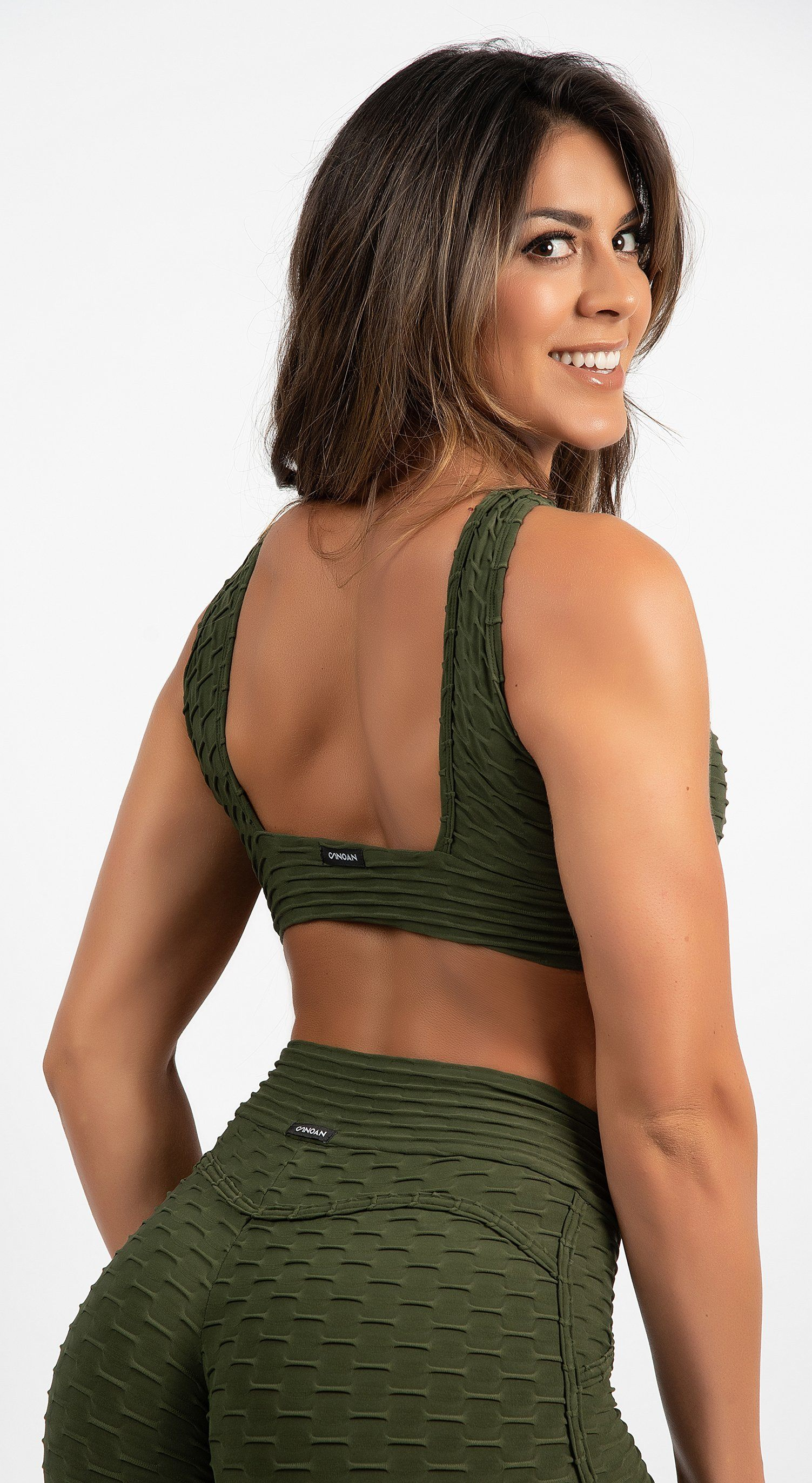 Brazilian Sports Bra - Honeycomb Cross Over Olive Green