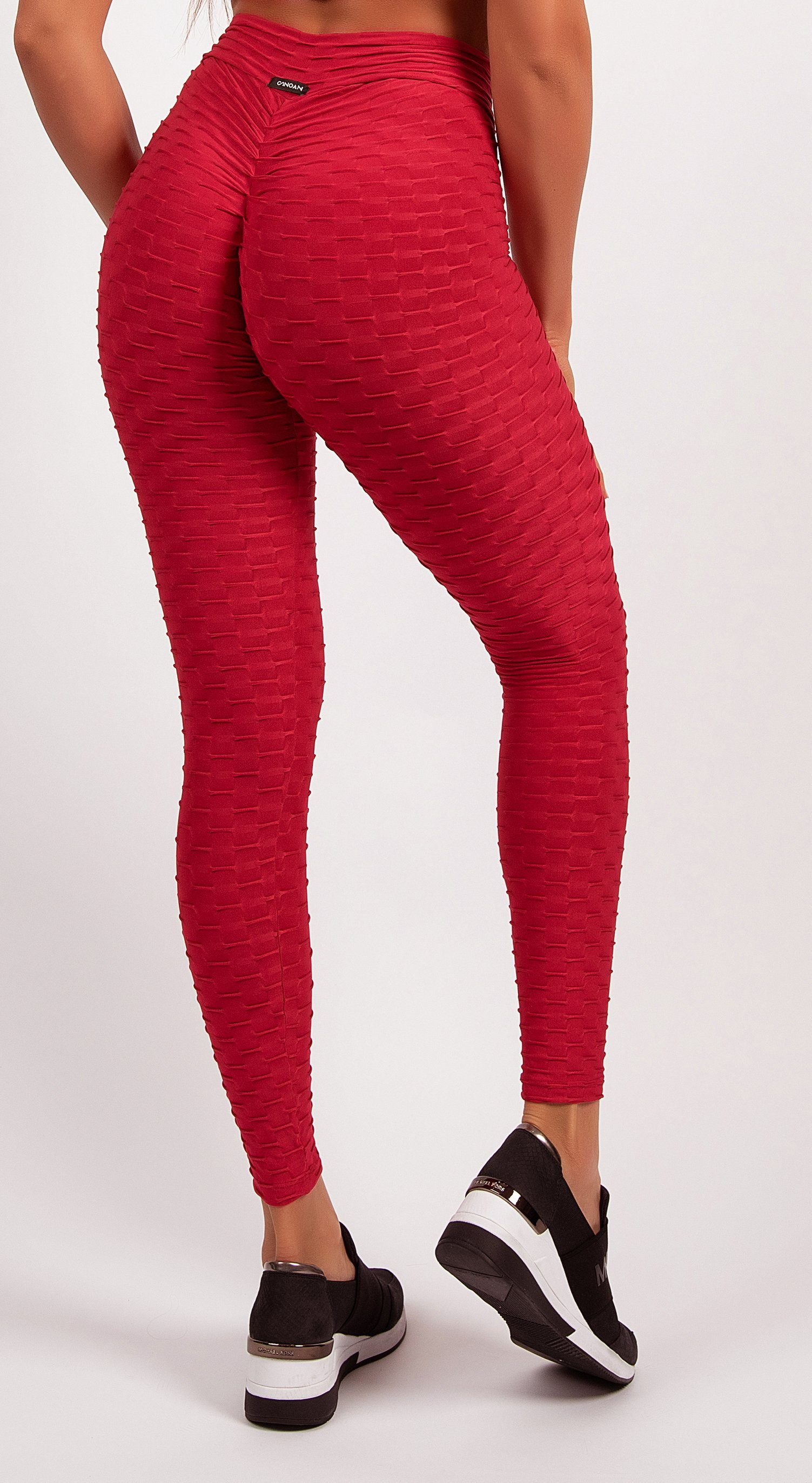 Anti Cellulite Honeycomb Textured Scrunch Booty Red Leggings