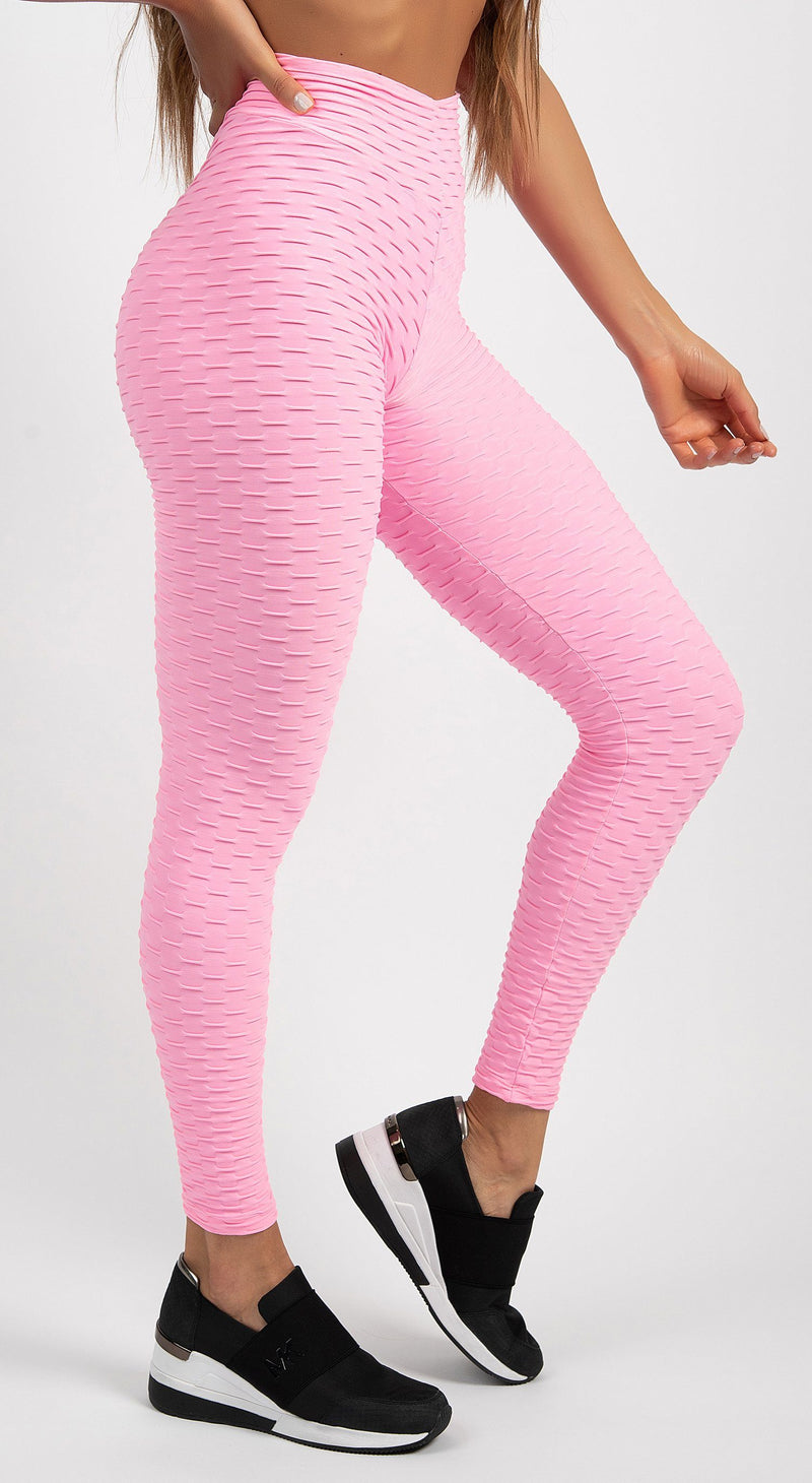 Brazilian Legging |  Anti Cellulite Honeycomb Textured Scrunch Booty Pink