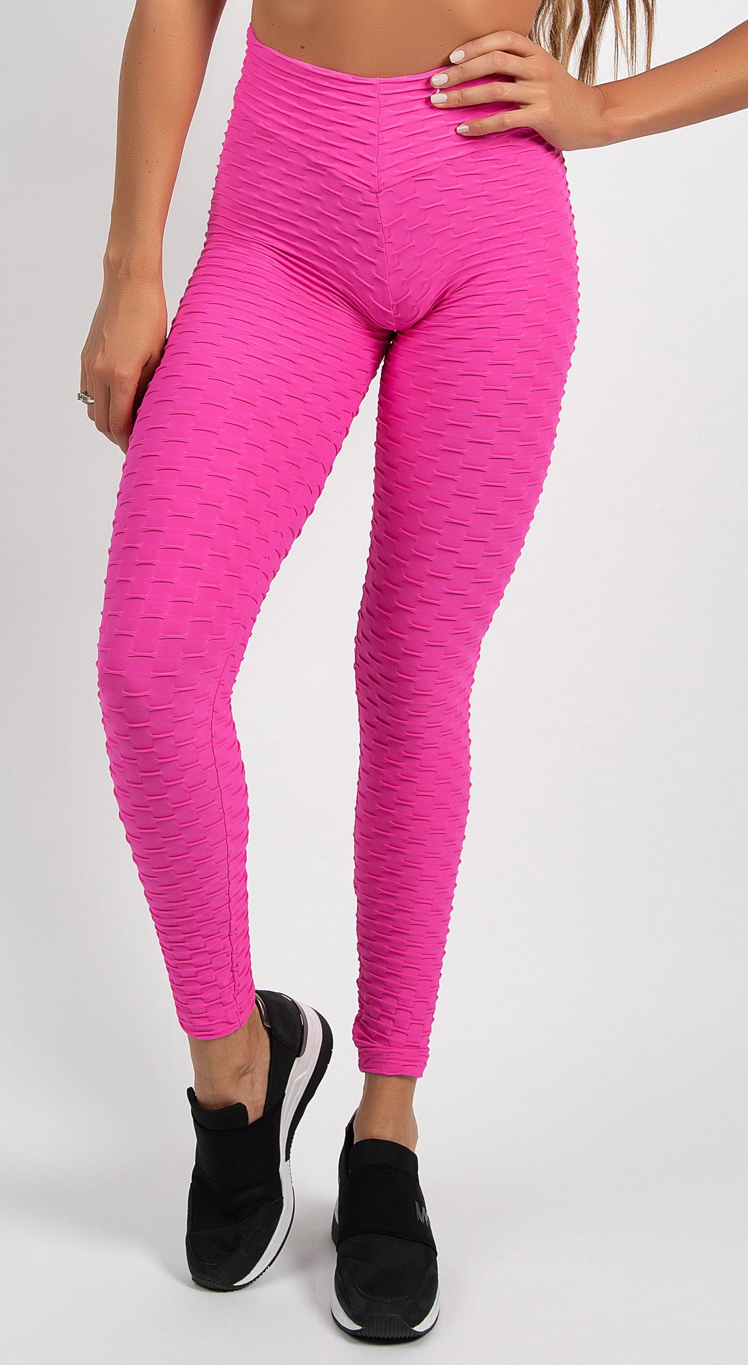 Brazilian Legging |  Anti Cellulite Honeycomb Textured Scrunch Booty Deep Pink