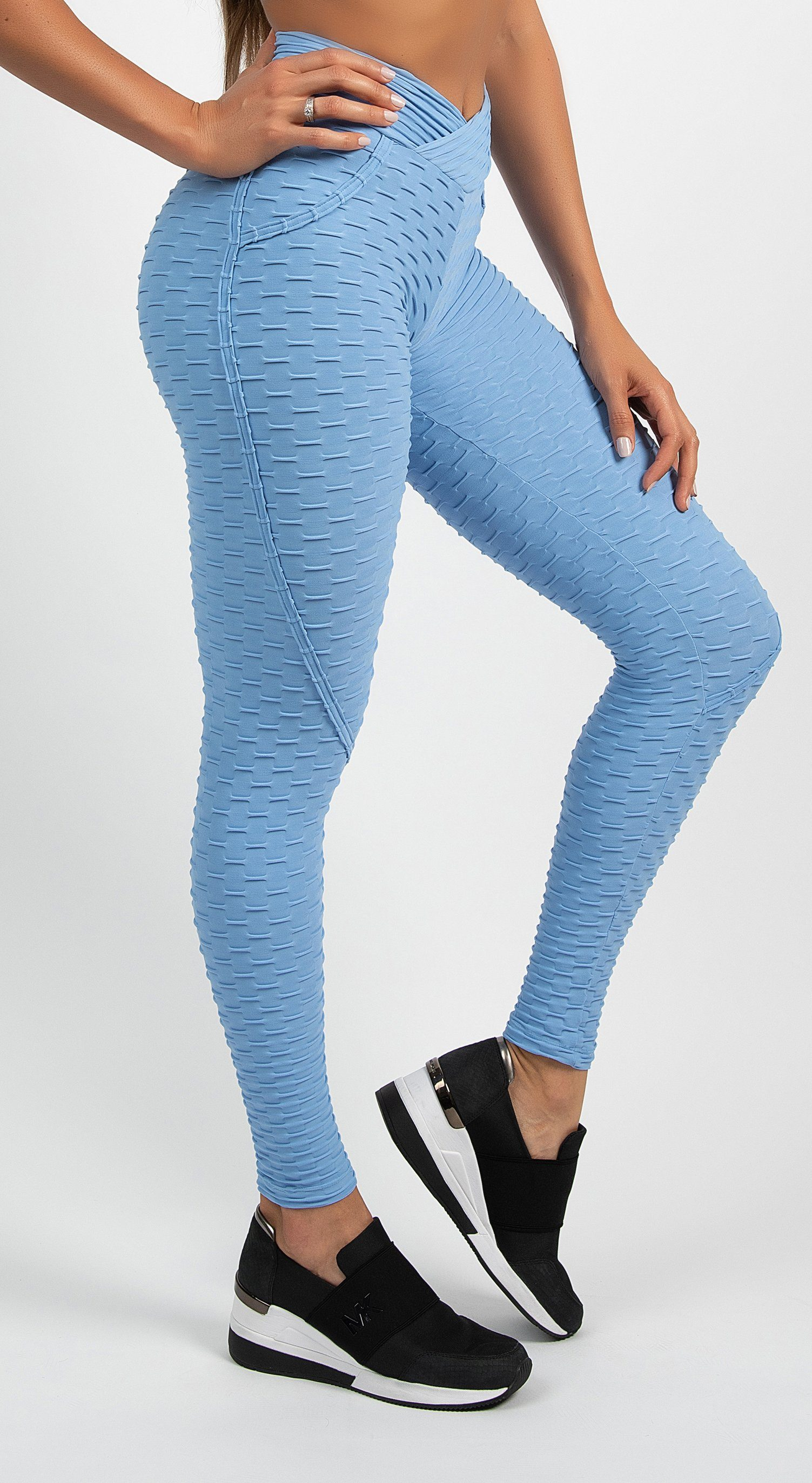 Anti Cellulite Textured Heart Booty Effect Baby Blue Leggings
