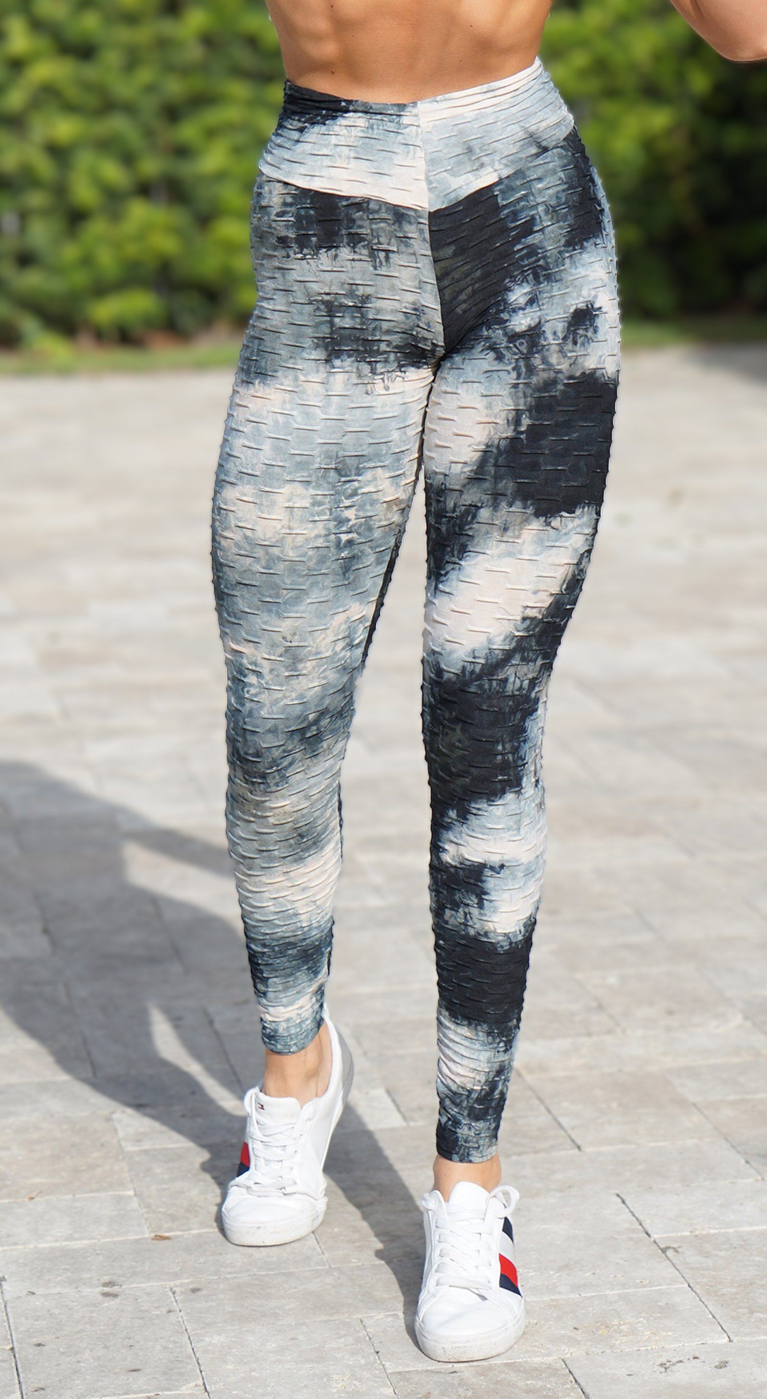 Brazilian Legging - High Waist Anti Cellulite Textured Scrunch Booty Tie Dye Black & Grey