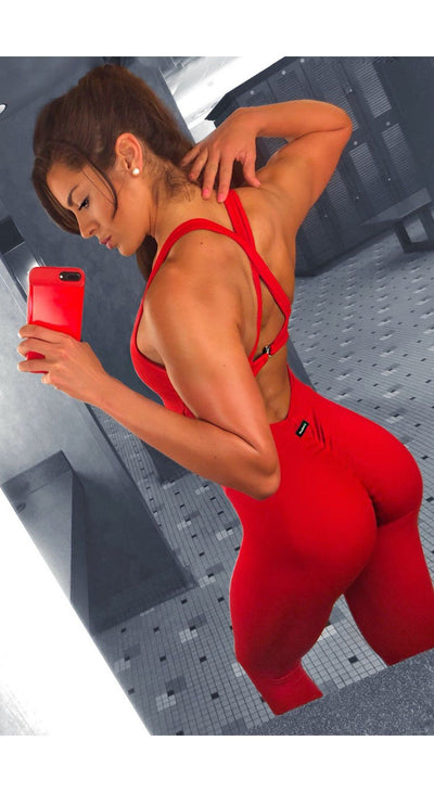 Brazilian Workout Jumpsuit  - Scrunch Booty The Killer One Piece Red