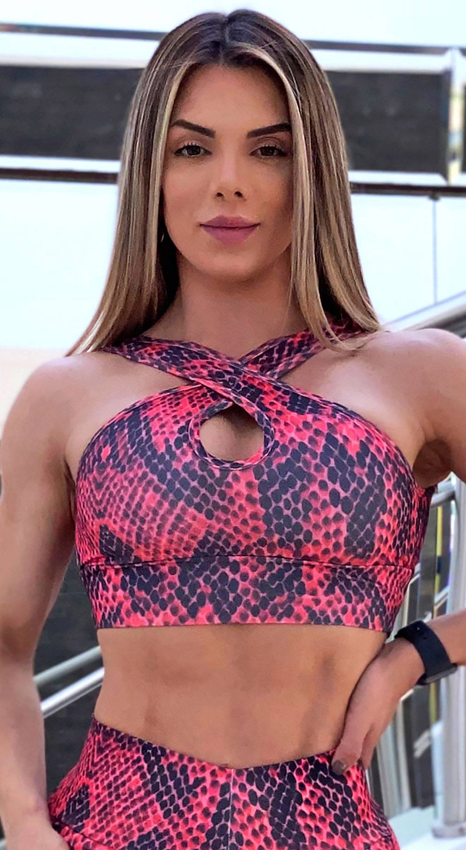 Brazilian Sports Bra - Cross Over Snake Print