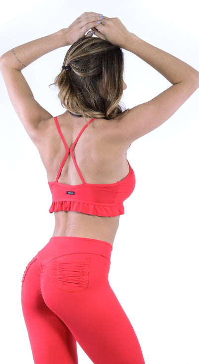 Brazilian Sports Bra - Ruffle Padded Red Bra