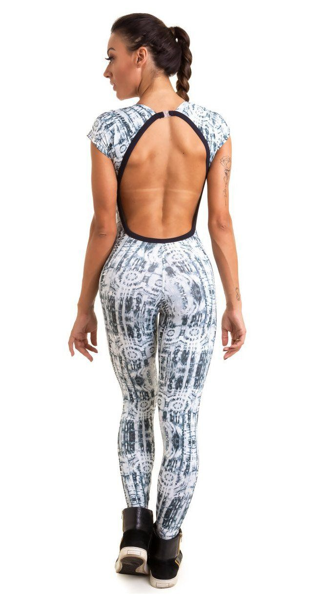 Brazilian Workout Jumpsuit  - White Snake Print