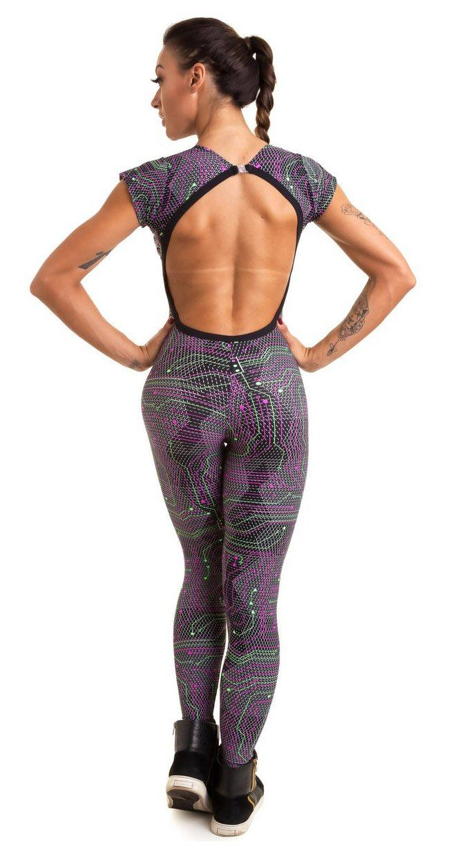 Brazilian Workout Jumpsuit  - Neon Spin Print