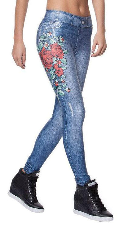 Brazilian Fake Jeans - Bloom Print Jeans Blue
