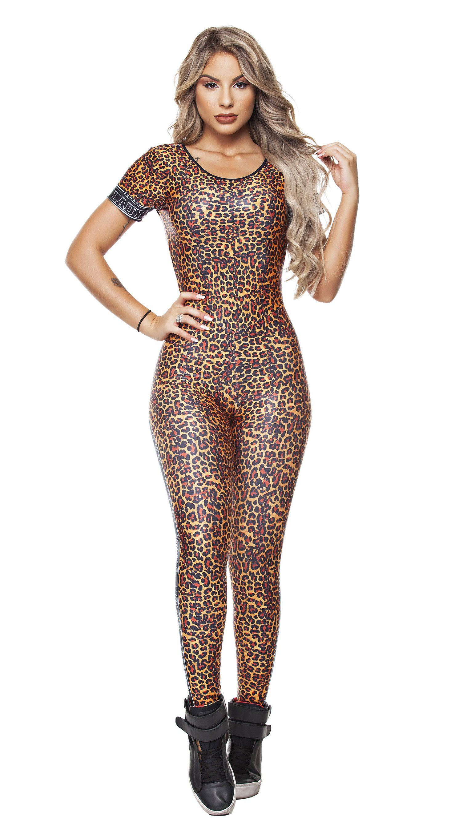 Brazilian Workout Jumpsuit - Digital Jaguar Print