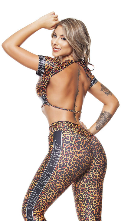 Workout Top - Jaguar Print  with Back Stripes