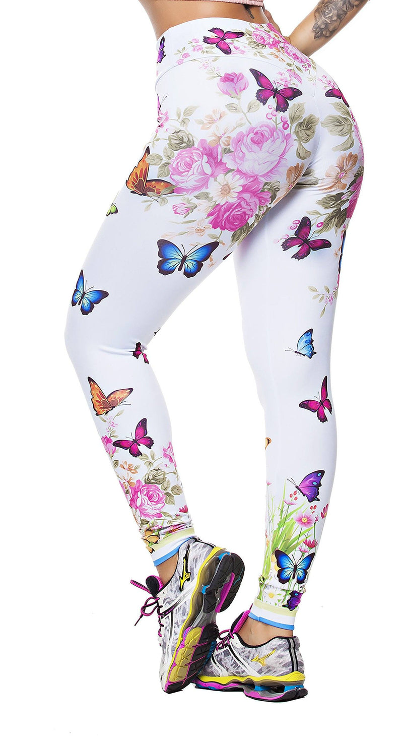 Brazilian Workout Leggings - Flowers & Butterflies Print