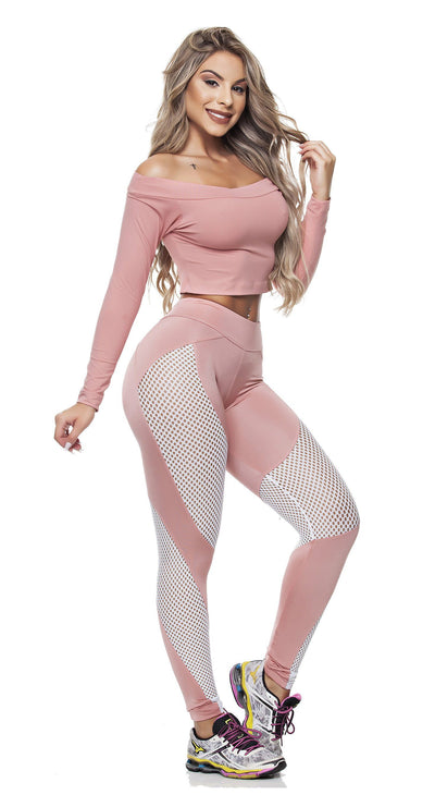 Brazilian Workout Leggings -  Spot Nude & Mesh White