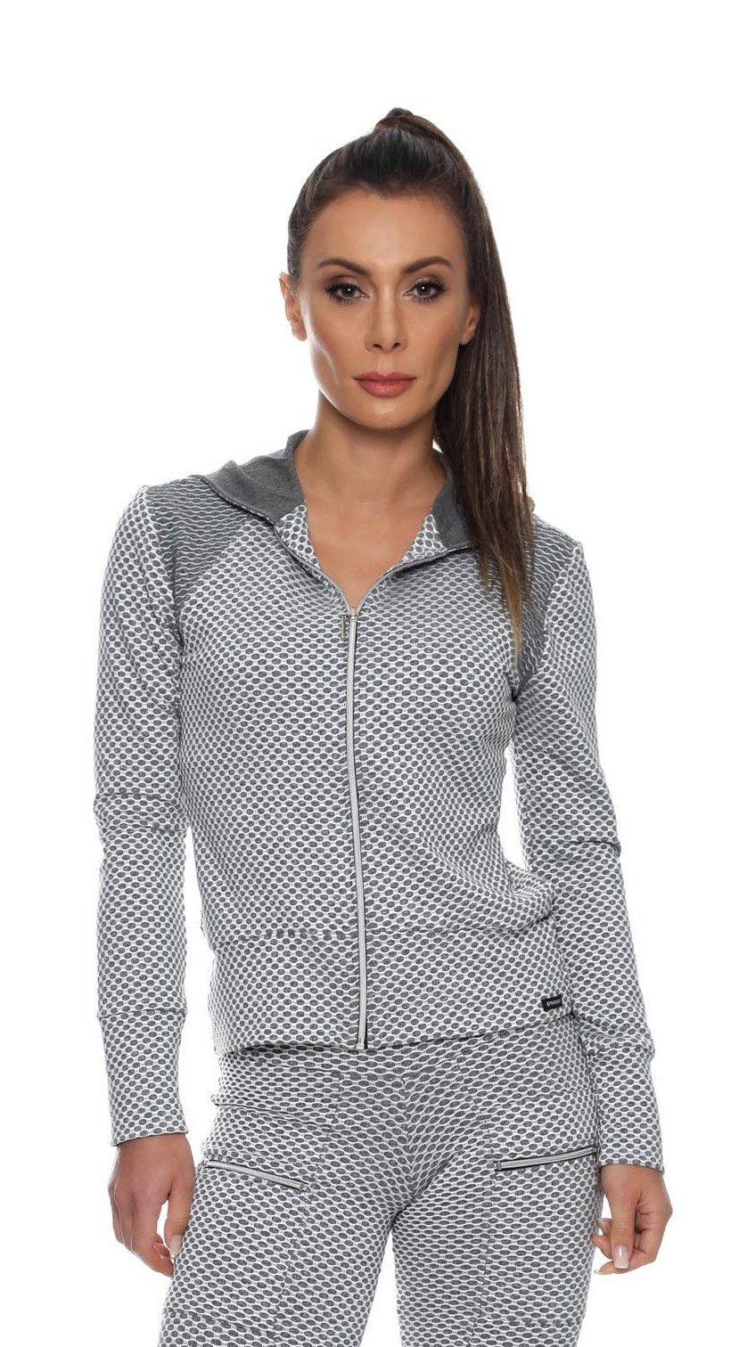 Brazilian Workout Jacket  -Gray Textured Jacket