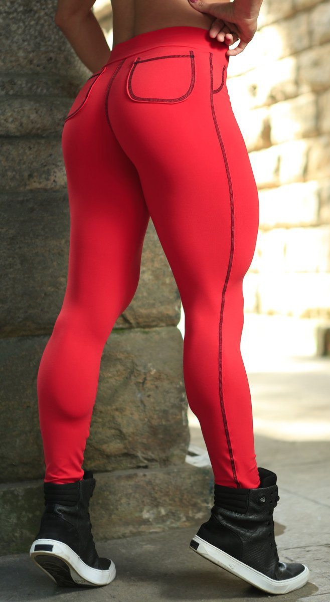 Brazilian Workout Legging - Round Pockets Red