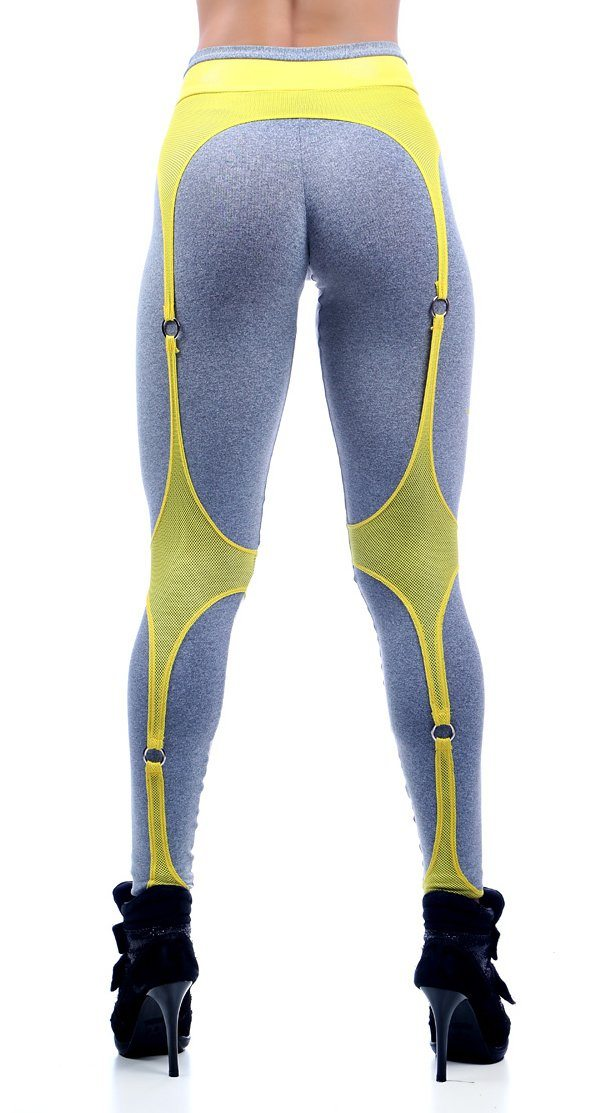 Brazilian Workout Legging -   Garter Belt Gray Yellow