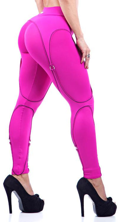 Brazilian Workout Legging -   Garter Belt Hot Pink