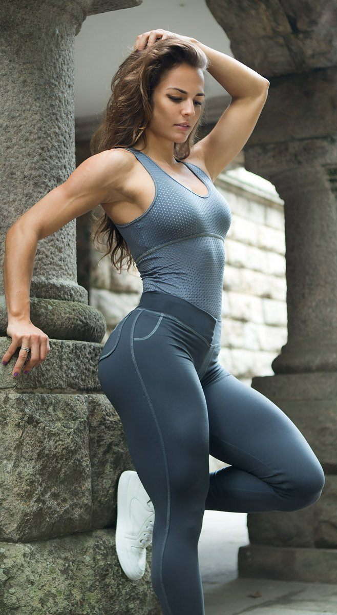 Brazilian Workout Legging - Round Pockets Grey