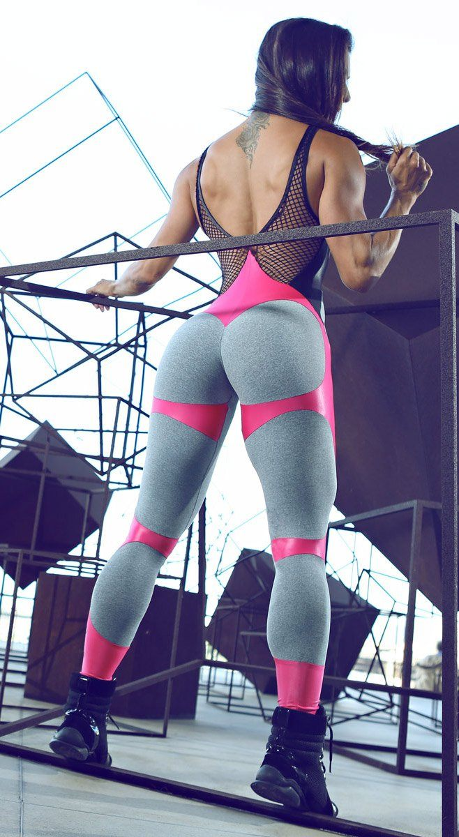 Brazilian Workout Jumpsuit  - Apple Booty Fitness Jumpsuit Gray & Pink