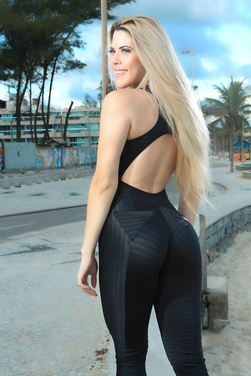 Brazilian Workout Jumpsuit  - Black Lava