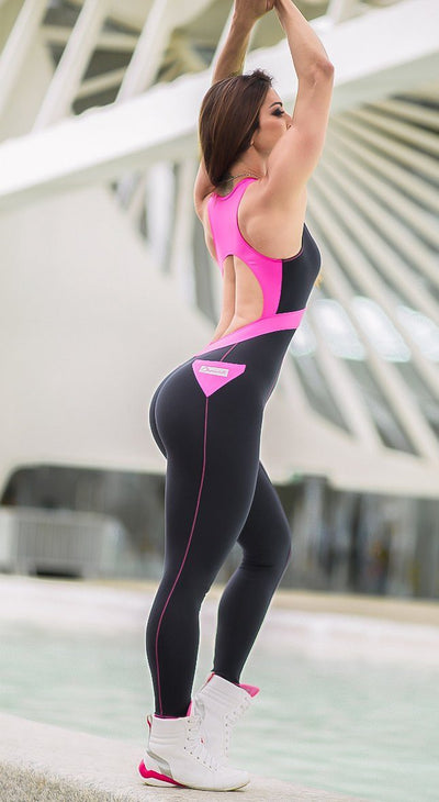 Brazilian Fitness Jumpsuit  - Black Ruby