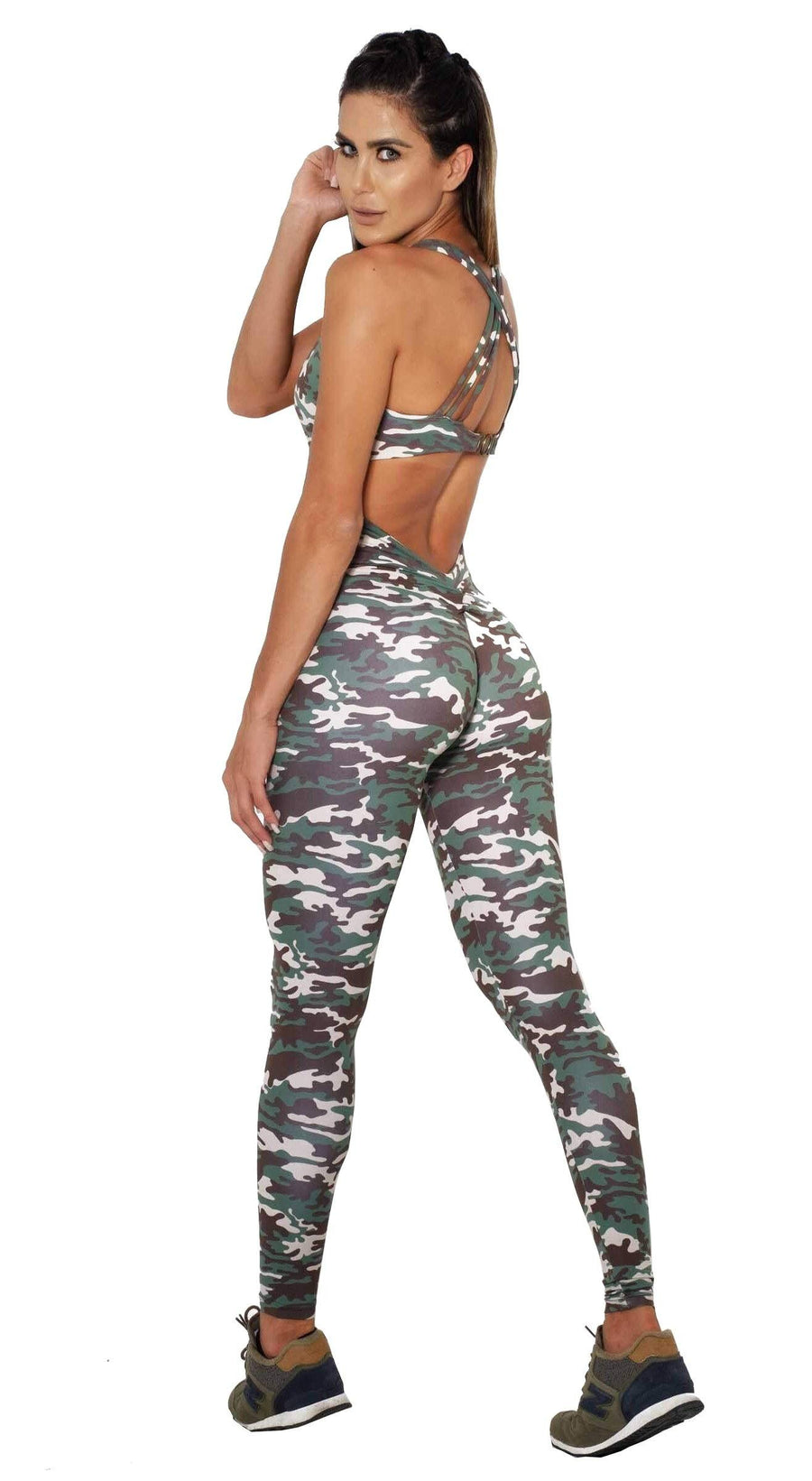 Brazilian Workout Jumpsuit  -  Scrunch Booty Camouflage Green