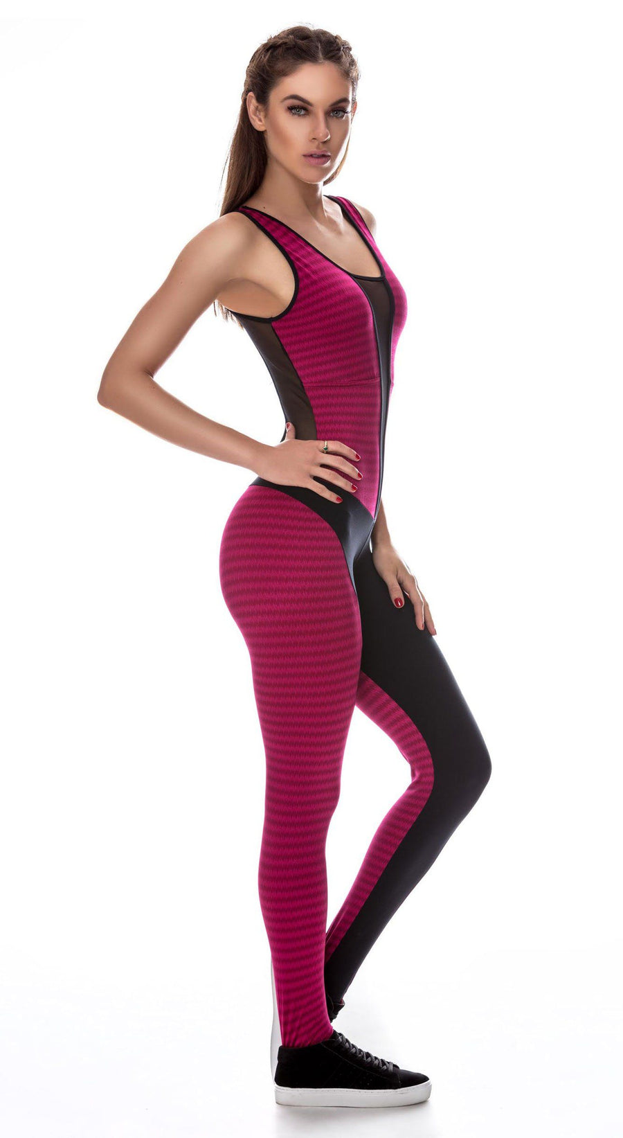 Brazilian Workout Jumpsuit - Electric Fit Catsuit Red & Black