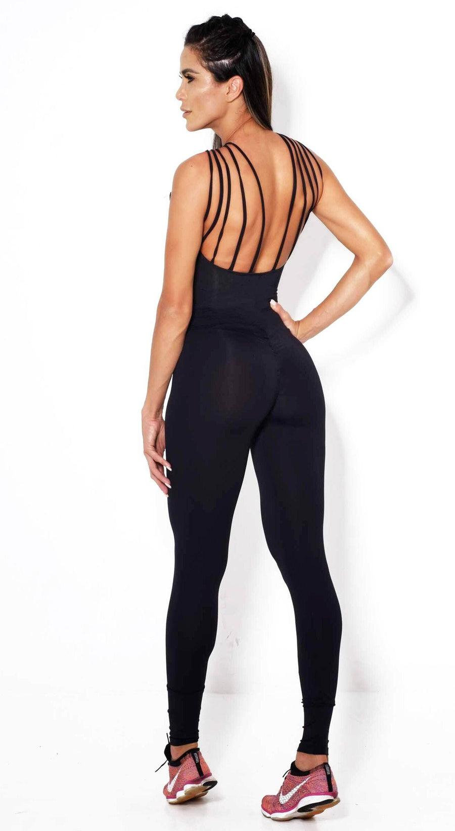 Brazilian Workout Jumpsuit  - Scrunch Booty Lux Catsuit Black