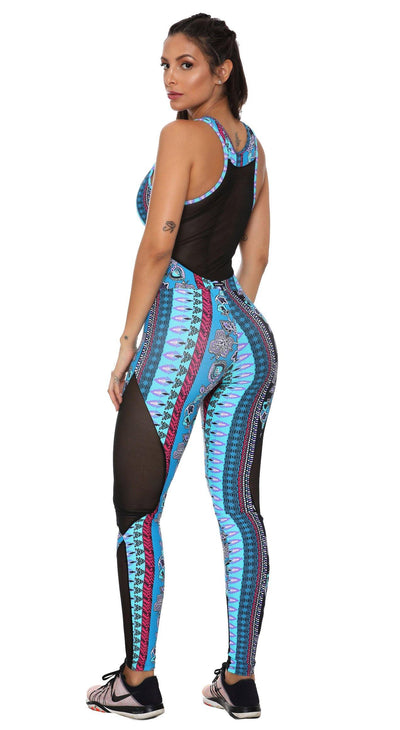 Brazilian Workout Jumpsuit - Mediterranean Print