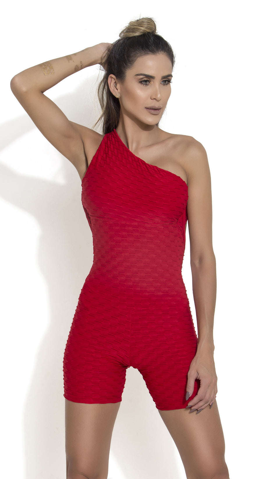 Short Fitness Jumpsuit - Honeycomb Scrunch Booty Red