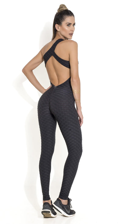 Fitness Jumpsuit - Honeycomb Scrunch Booty One Piece Black