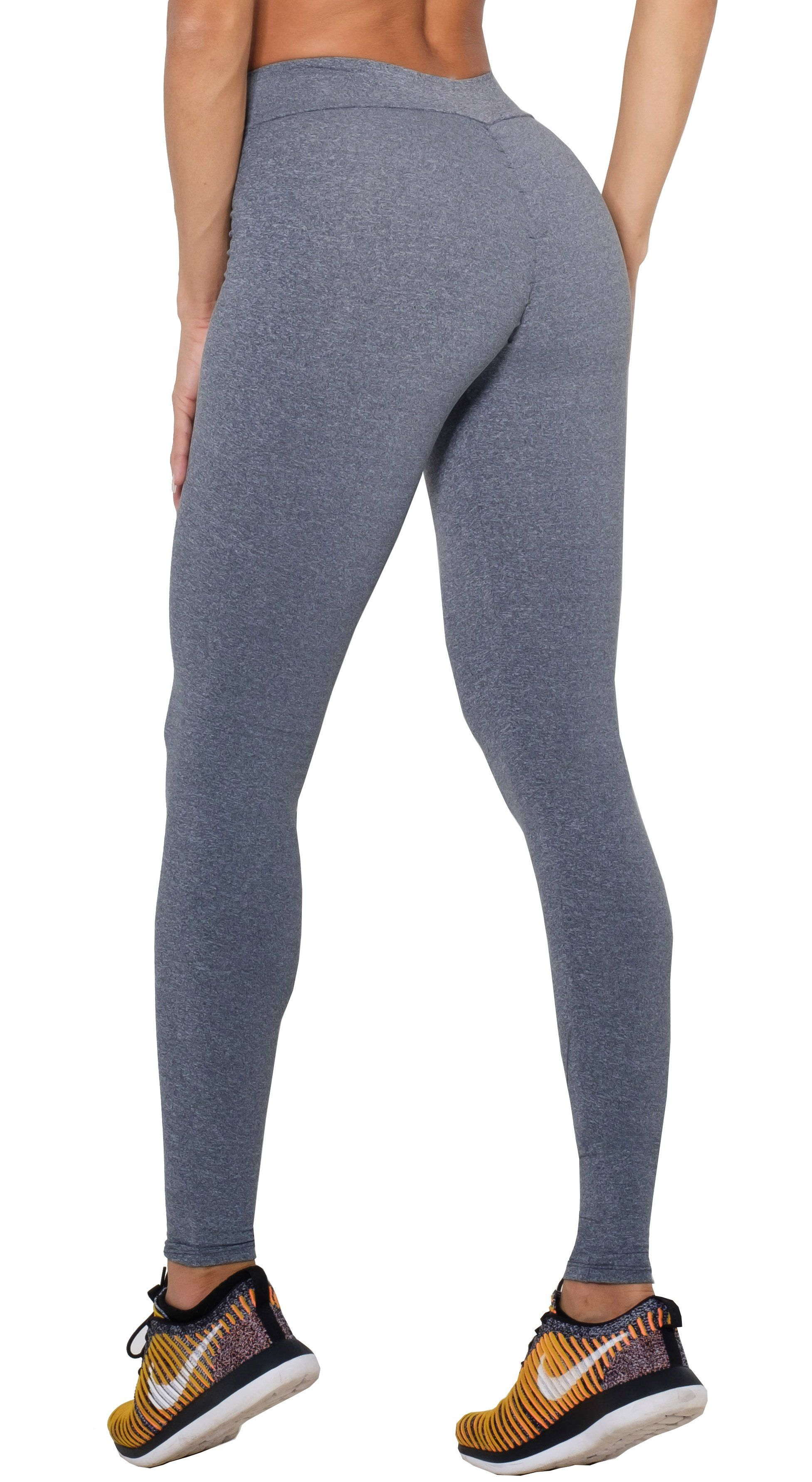 Brazilian Workout Legging - Scrunch Booty Lift! Compression Gray
