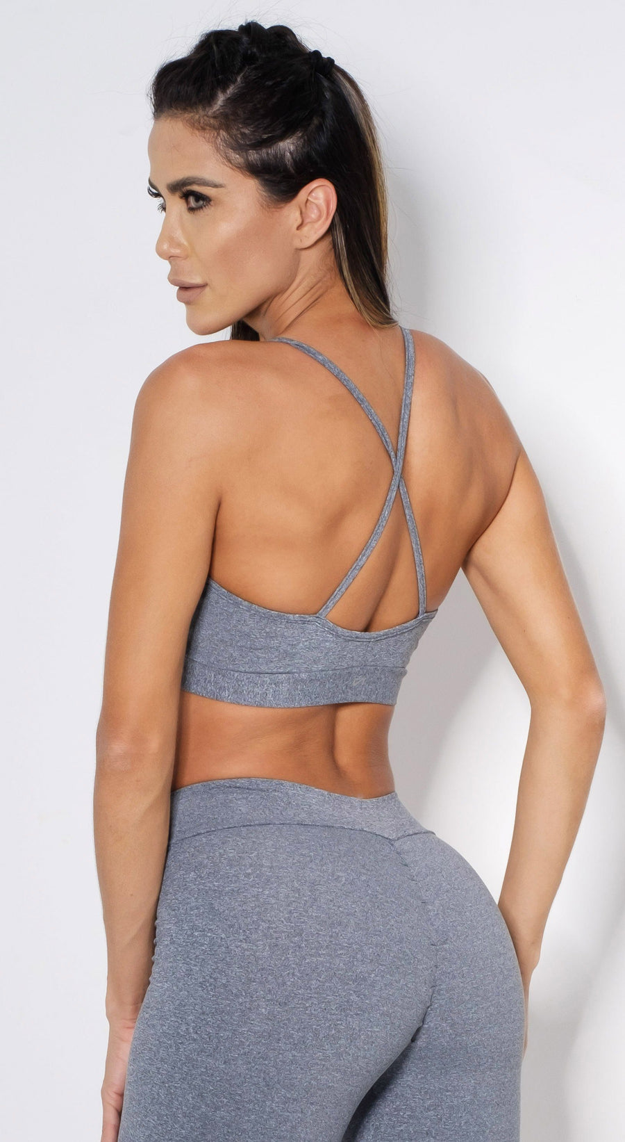 Brazilian Sports Bra - Strappy Gray