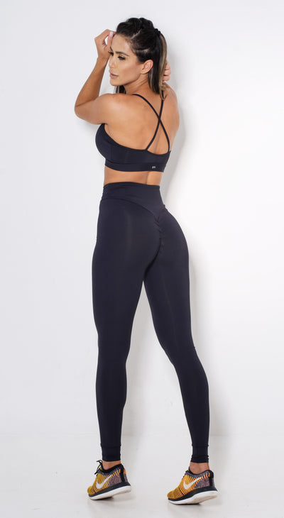Brazilian Workout Legging -  High Waist Scrunch Booty Lift!  Black